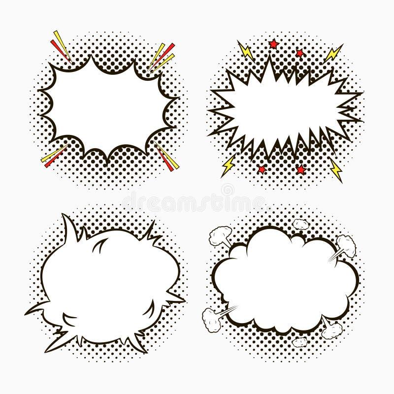 El discurso cómico burbujea en el fondo de semitono de los puntos con las estrellas y los relámpagos Bosquejo de los efectos vací ilustración del vector