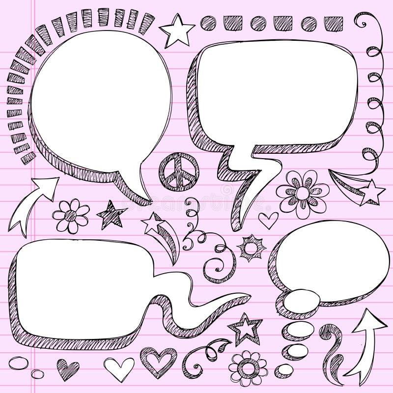El discurso a mano 3D burbujea los Doodles incompletos libre illustration