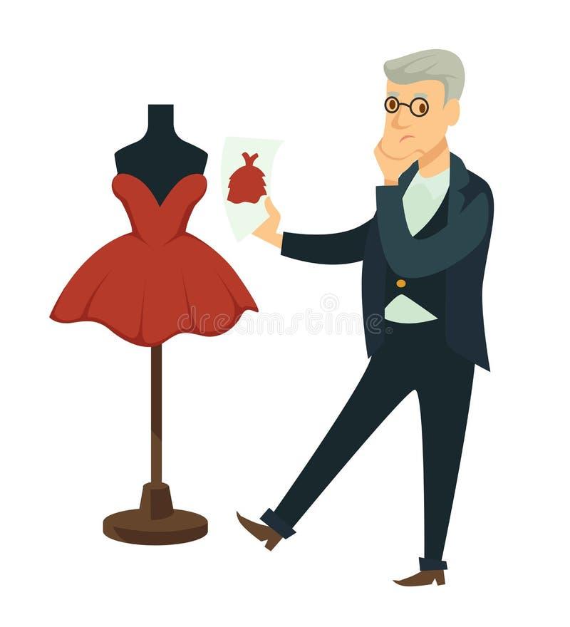 El diseñador compara la imagen del proyecto para alistar el vestido en maniquí stock de ilustración
