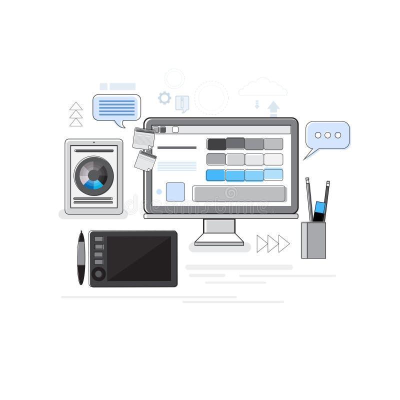 El diseñador de proceso creativo Professional Desktop Tablet del icono de Digitaces enrarece la línea stock de ilustración
