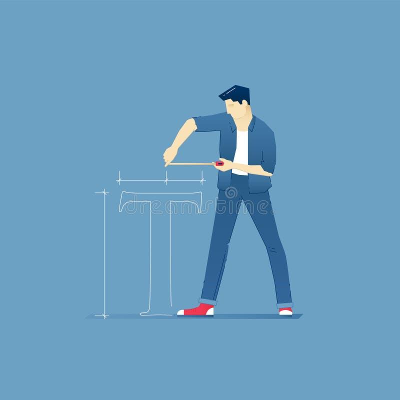 El diseñador de sexo masculino mide T-símbolo con una cinta métrica libre illustration