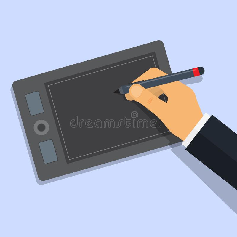 El diseñador dibuja en la tableta gráfica por la pluma ilustración del vector