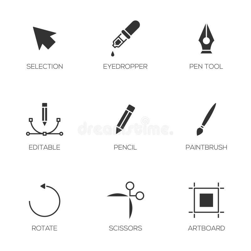 El diseñador gráfico equipa iconos stock de ilustración