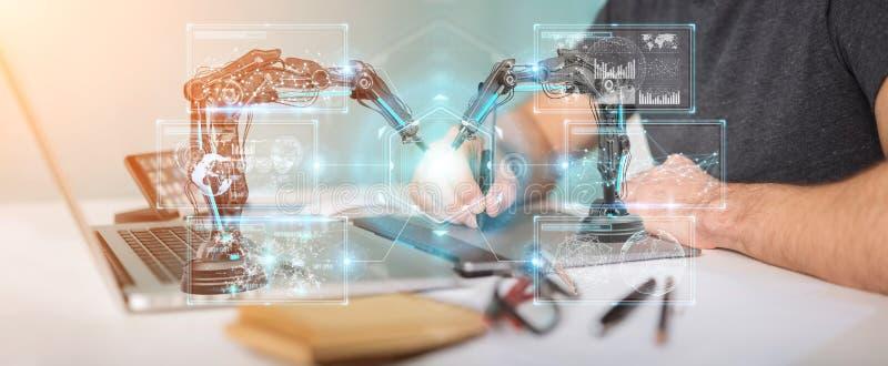 El diseñador gráfico que usa los brazos de la robótica con la pantalla digital 3D arranca stock de ilustración