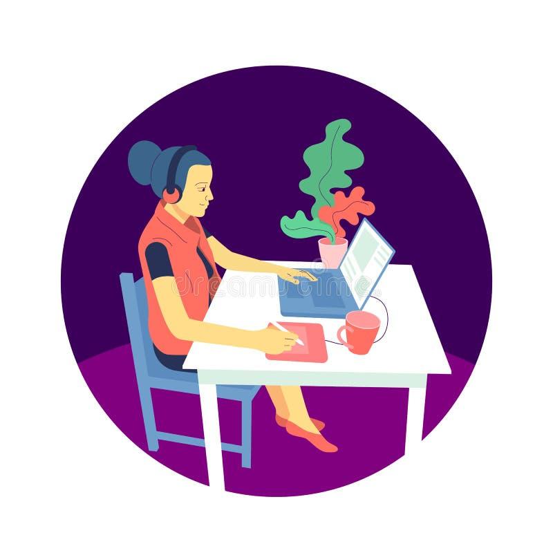 El diseñador plano de la muchacha del estilo se está sentando en el escritorio y está trabajando con el ordenador portátil, usand stock de ilustración