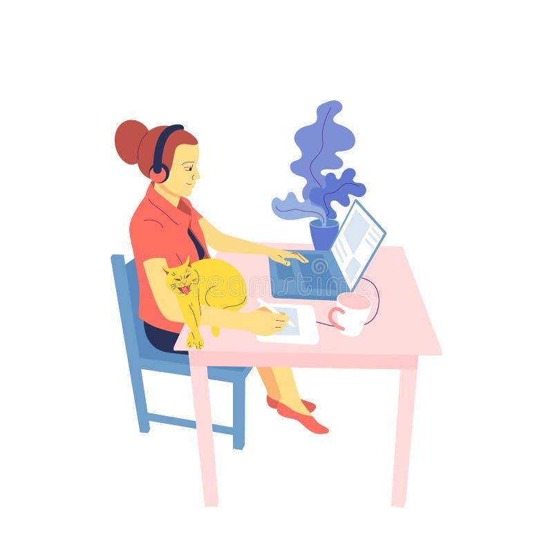 El diseñador plano de la muchacha del estilo se está sentando en el escritorio y está trabajando con el ordenador portátil, usand ilustración del vector