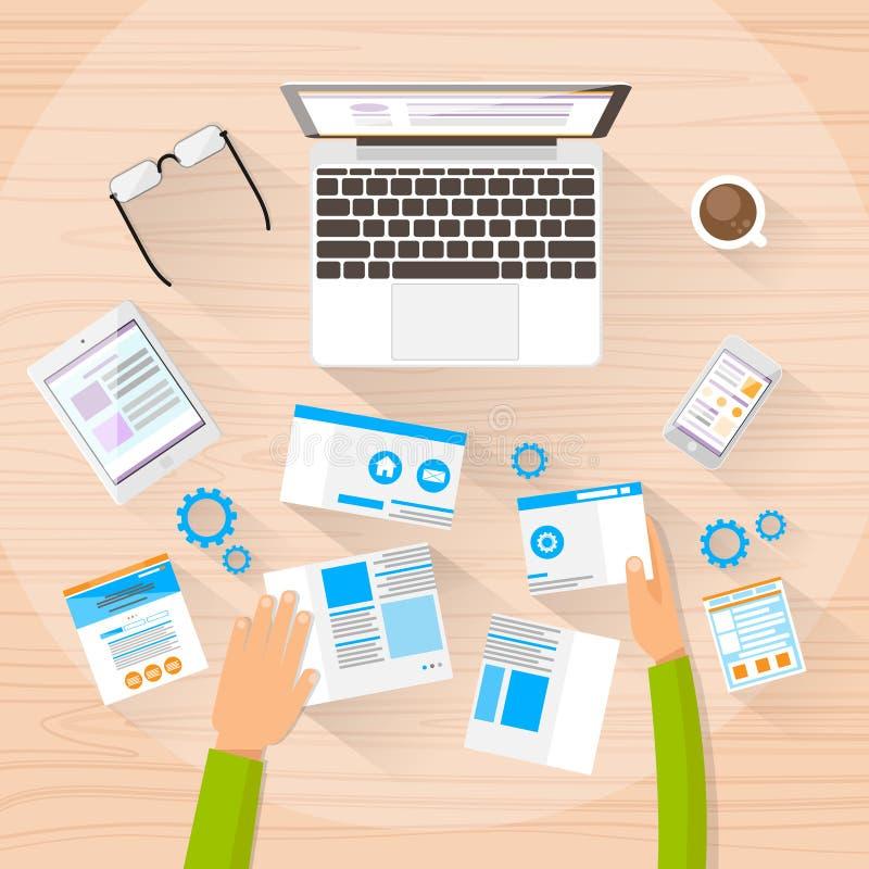 El diseñador web Work Space Development crea diseño stock de ilustración