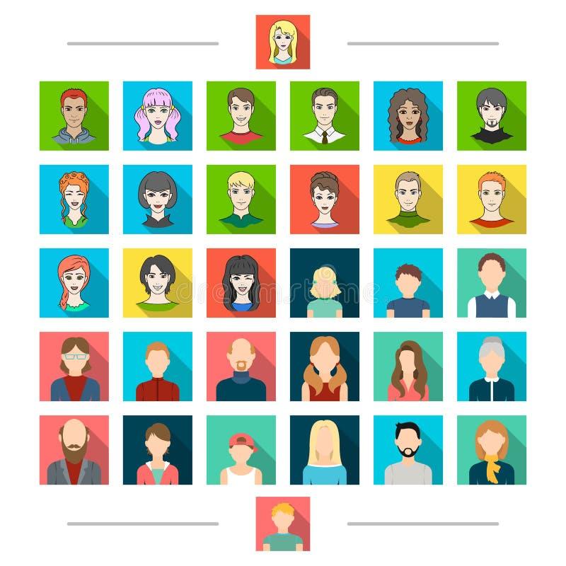 El diseñar, la cosmetología, la fotografía y el otro icono del web en estilo de la historieta Sonrisa, peluquero, iconos del saló libre illustration