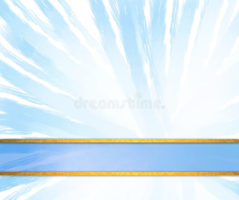 El diseño abstracto azul y blanco del fondo con el azul pintó líneas en modelo radial y raya azul de la cinta del pie de página libre illustration
