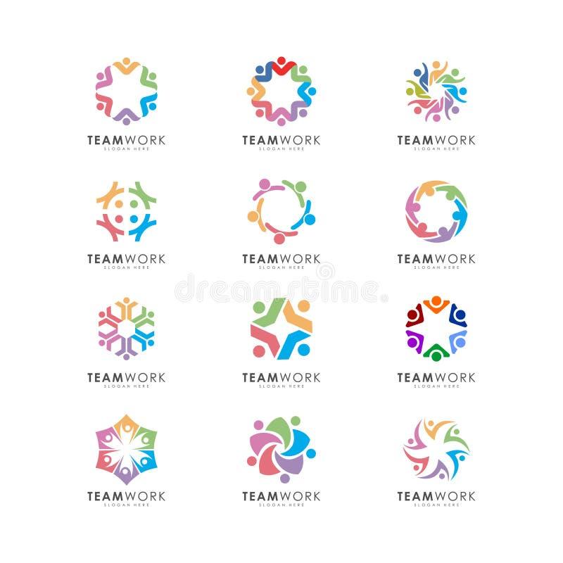 El diseño abstracto del vector de la gente representa trabajo en equipo, muestras y símbolos ilustración del vector