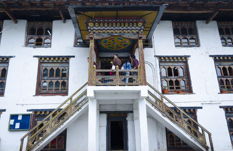 El diseño arquitectónico tradicional de Bhután fotografía de archivo