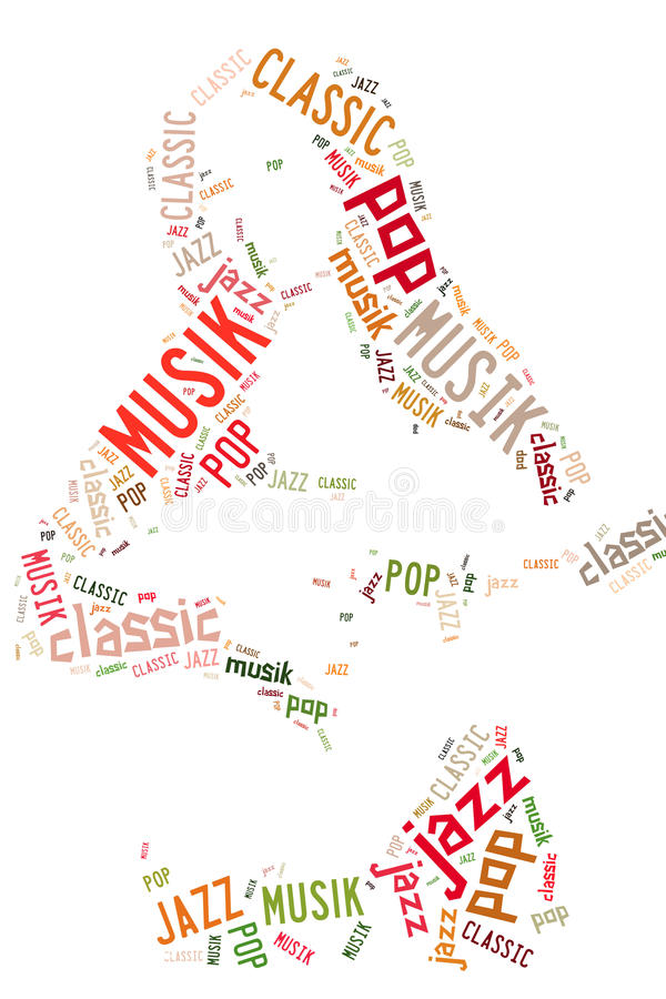 El diseño artístico de un guitarrista formó del texto foto de archivo