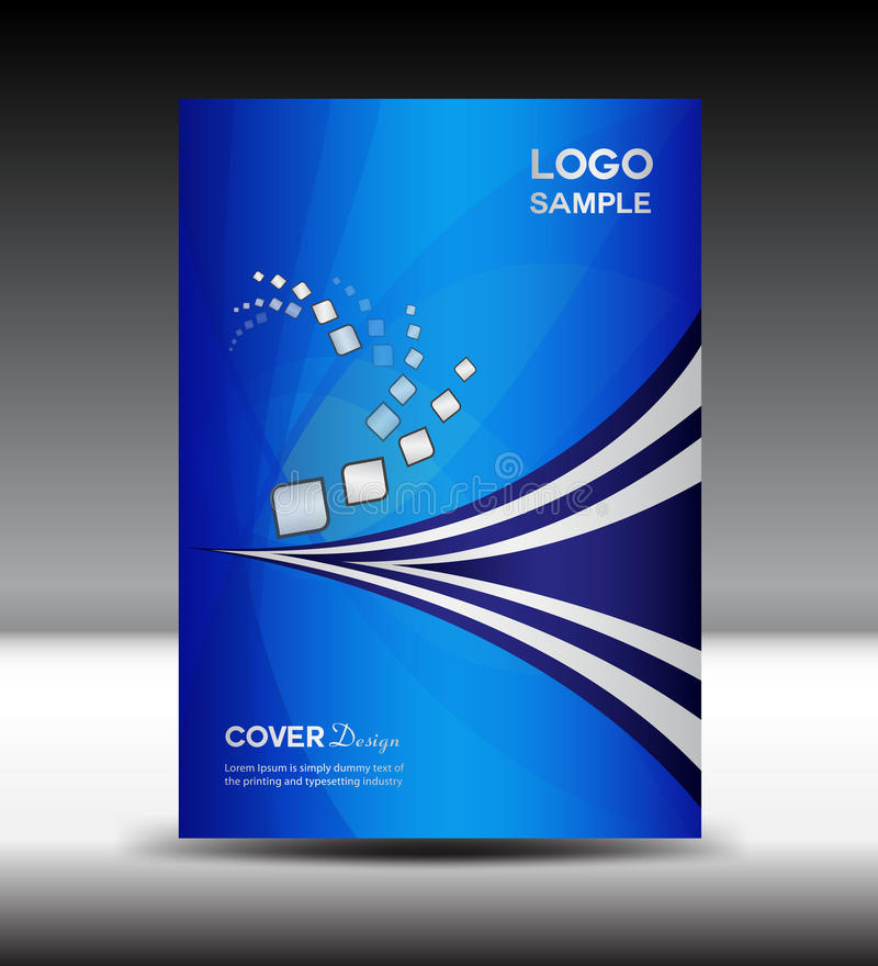 El diseño azul de la cubierta y el informe anual de la cubierta vector el ejemplo libre illustration