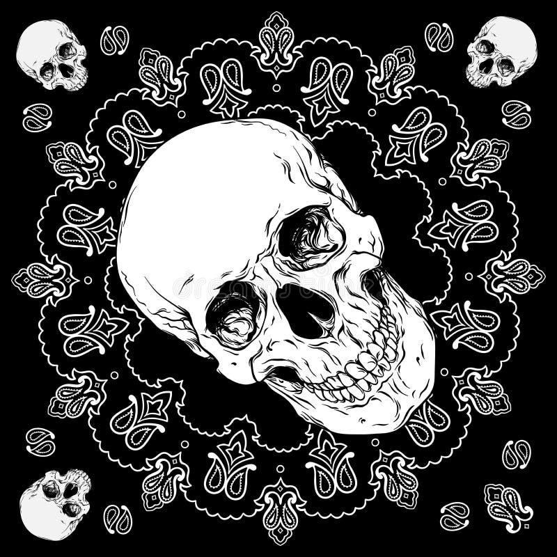 El diseño blanco y negro del pañuelo con el cráneo y Paisley adornan vector ilustración del vector