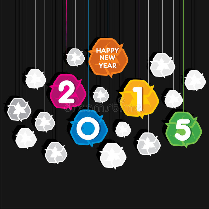 El diseño colorido creativo 2015 del saludo del Año Nuevo con recicla tema del símbolo stock de ilustración
