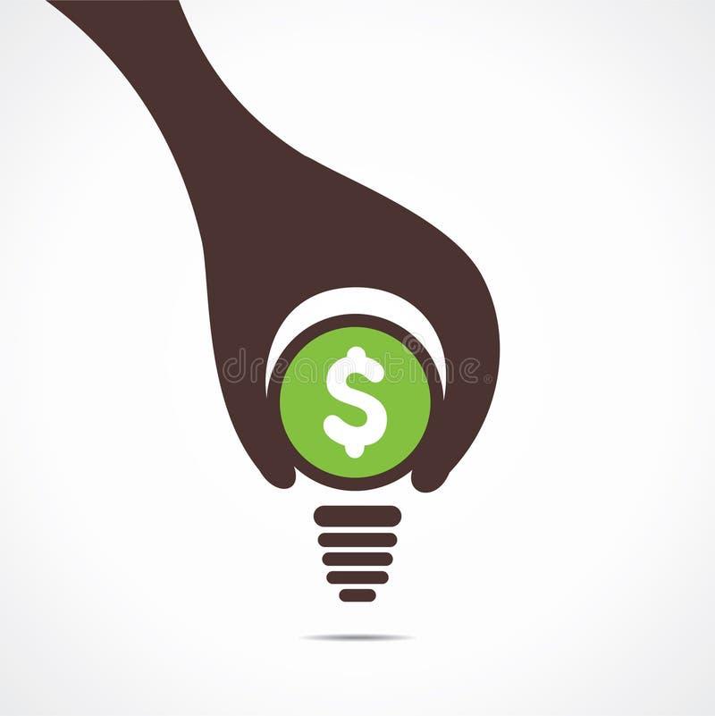 El diseño creativo de bulbo del dólar, el asimiento de la mano una moneda y la parte inferior del bulbo es diseño ilustración del vector