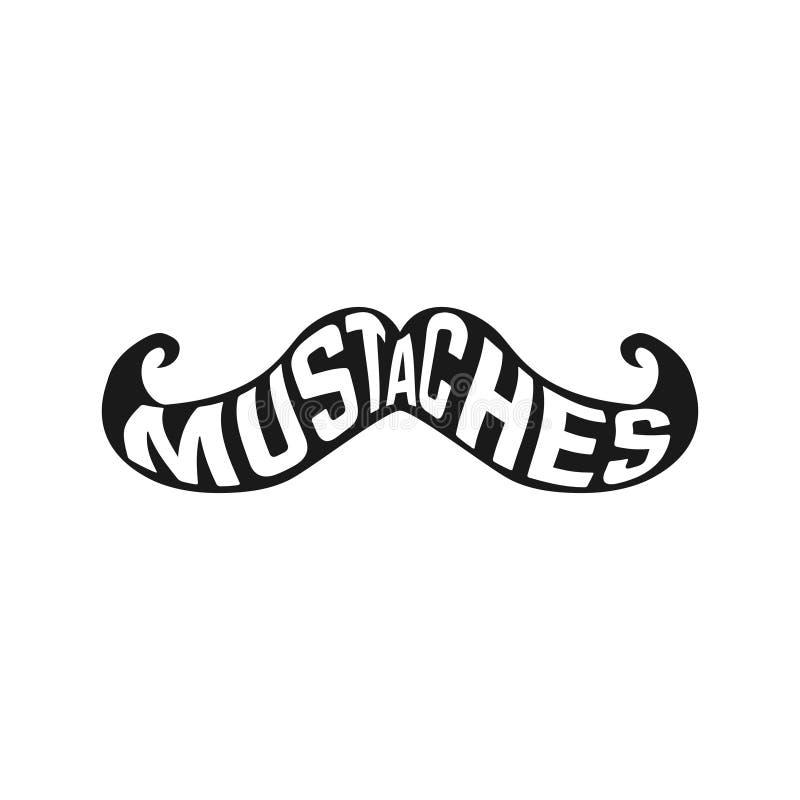 El diseño creativo de silueta de los bigotes con el interior del texto aisló negro en el fondo blanco libre illustration