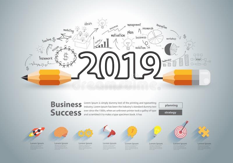 El diseño creativo del lápiz en el dibujo traza el Año Nuevo 2019 de los gráficos stock de ilustración