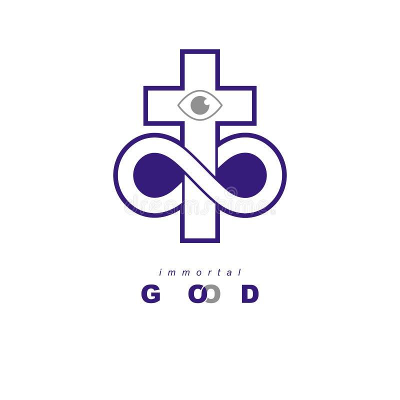 El diseño creativo del símbolo del vector eterno de dios combinó con infi stock de ilustración