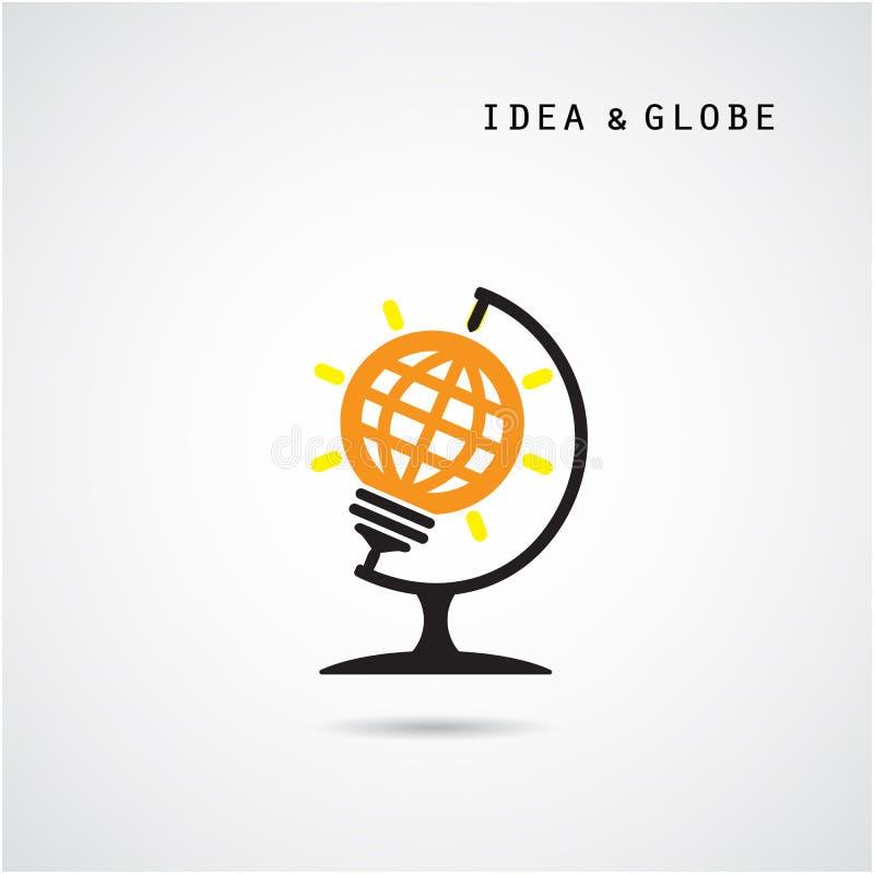 El diseño creativo y el globo del logotipo del vector del extracto del bulbo firman ilustración del vector