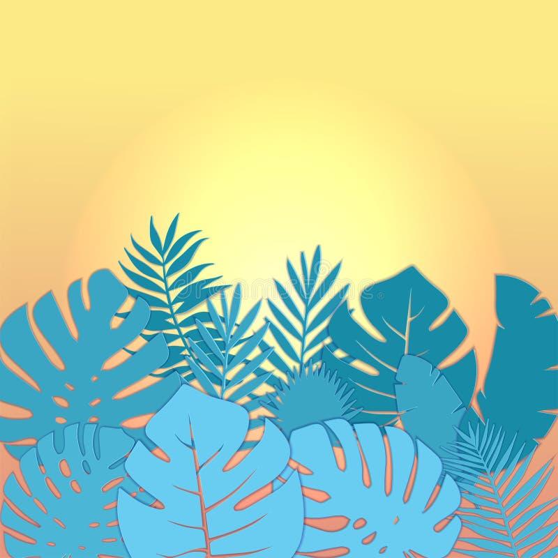 El diseño cuadrado de la bandera de la venta del verano con el papel cortó el fondo tropical de las hojas de palma con el texto d ilustración del vector