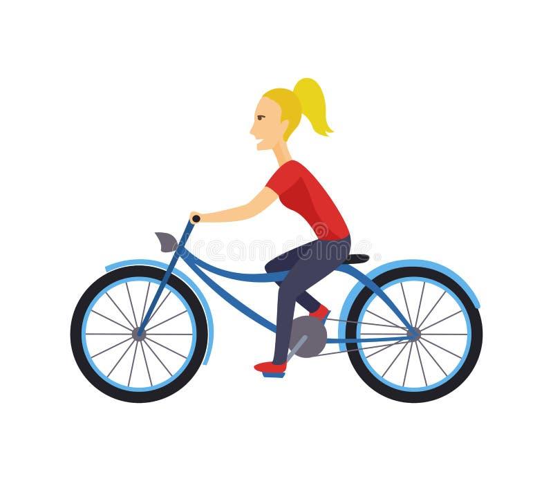 El diseño de carácter fresco del vector en el montar a caballo adulto de la mujer joven monta en bicicleta Inconformistas femenin stock de ilustración