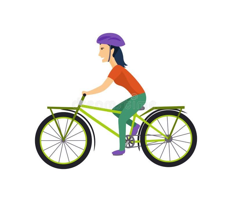 El diseño de carácter fresco del vector en el montar a caballo adulto de la mujer joven monta en bicicleta Inconformistas femenin libre illustration