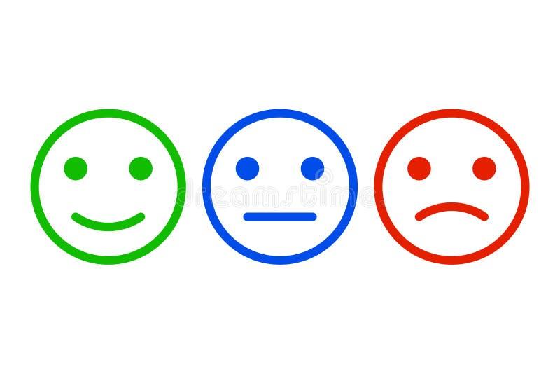 El diseño de concepto de la reacción, emociones escala el fondo y la bandera Positivo o negativa de la opinión de la reacción del ilustración del vector