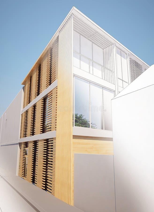 El diseño de la arquitectura del bosquejo de casa de la inserción, marco 3dwire rinde el edificio fotografía de archivo libre de regalías