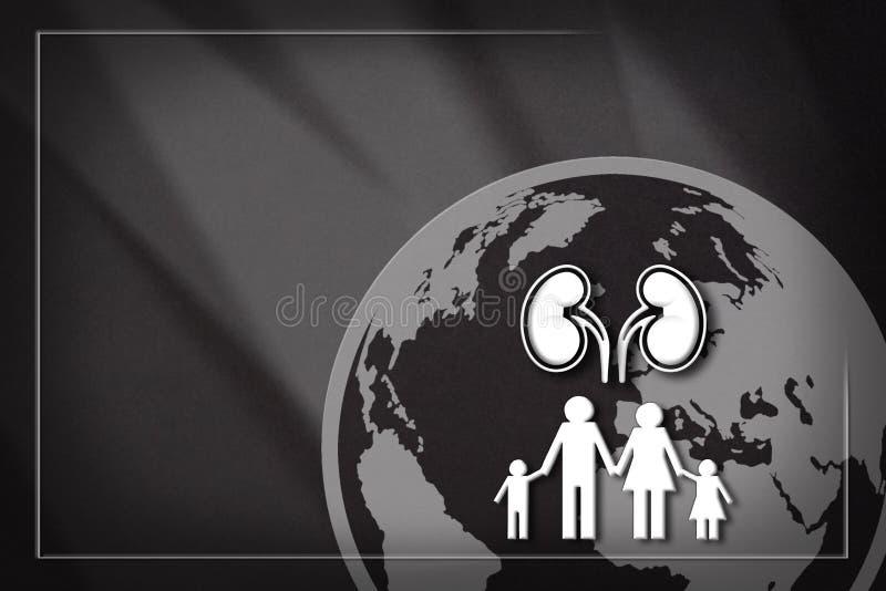 El diseño de la bandera ayuda a las familias con problemas del riñón ilustración del vector