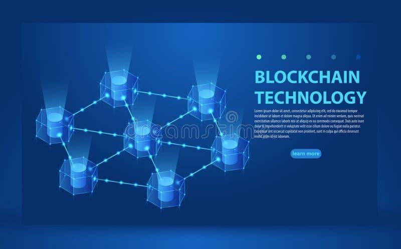 El diseño de la bandera del resbalador del concepto de Blockchain con el ejemplo isométrico de la cadena de bloques y el texto ve stock de ilustración