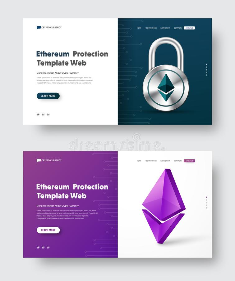 El diseño de la bandera del web del vector con el candado y 3d acuñan el icono de Ethereum libre illustration