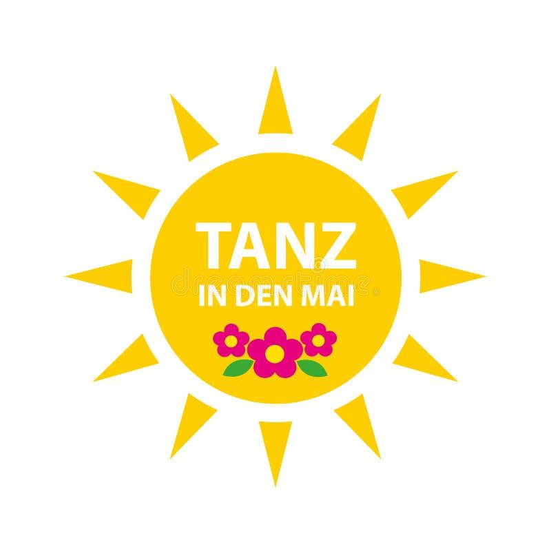 El dise?o de la celebraci?n del primero de mayo con el sol y la danza alemana del texto en puede stock de ilustración