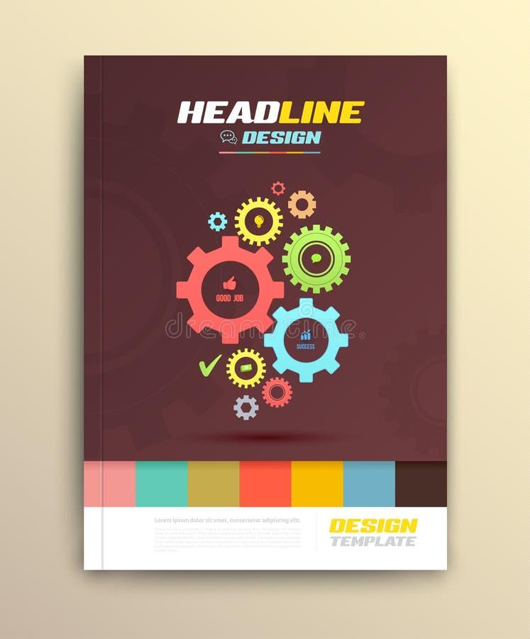 El diseño de la cubierta del folleto con el diente rueda plantillas stock de ilustración