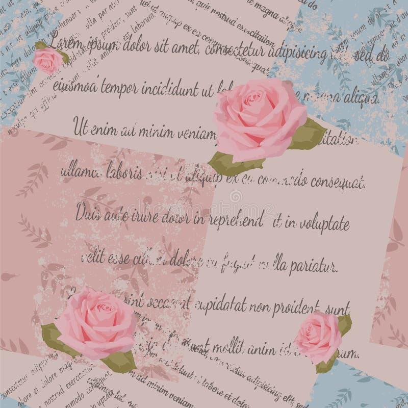 El diseño de la materia textil, rosas, se descoloró el texto, remiendo con la impresión del follaje ilustración del vector