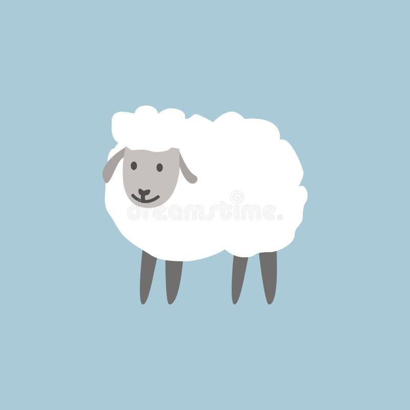 El diseño de la tarjeta de felicitación de Eid al-Adha con el papel cortó las ovejas lindas del bebé para la comunidad musulmán F stock de ilustración