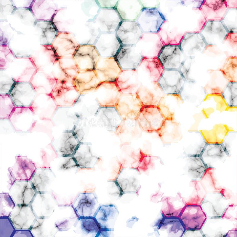 El diseño de la textura del mármol del vector con el panal geométrico alinea, superficie que vetea blanco y negro, fondo lujoso m libre illustration