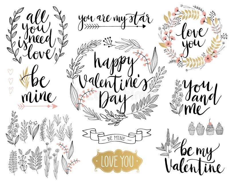 El diseño de letras de día del ` s de la tarjeta del día de San Valentín fijó - dé exhausto ilustración del vector