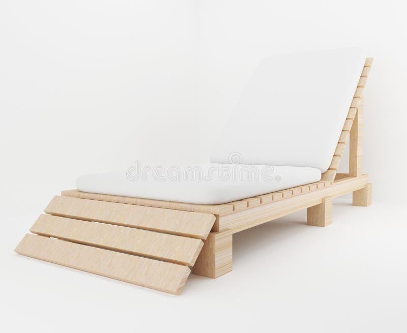 El diseño de madera de la silla para el mar y la playa en 3D rinden imagen stock de ilustración