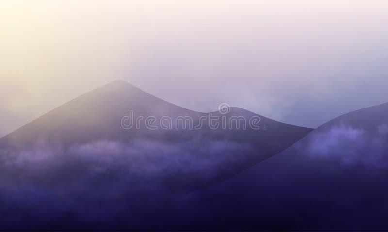 El diseño de paisaje con las montañas oscuras y el cielo nublado en el sol suben Ejemplo del vector de la niebla de la mañana libre illustration