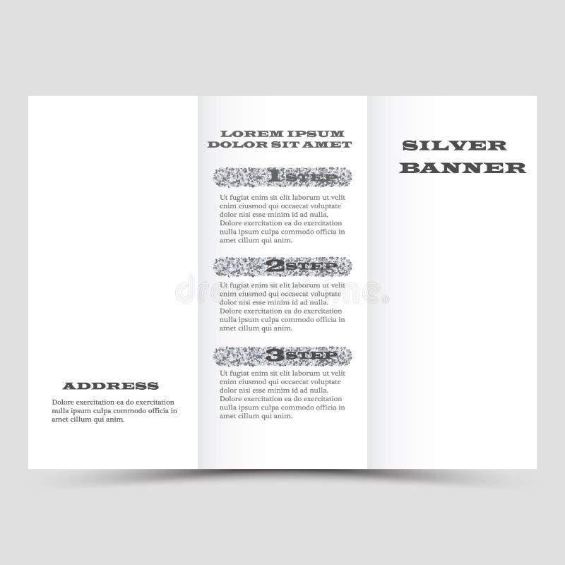 El diseño de plata de la disposición del folleto del vector, negocio tres dobla la plantilla del aviador stock de ilustración