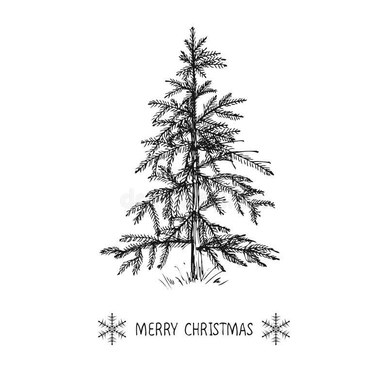 El diseño de tarjeta con un árbol de navidad dibujado mano con los copos de nieve y la Feliz Navidad mandan un SMS stock de ilustración