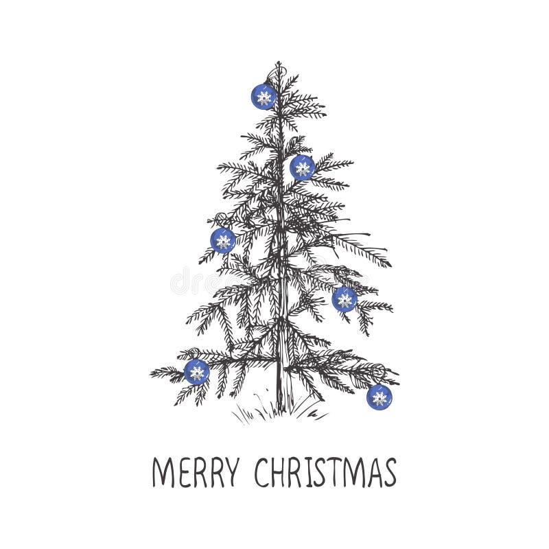 El diseño de tarjeta con un árbol de navidad dibujado mano con los copos de nieve y la Feliz Navidad mandan un SMS ilustración del vector