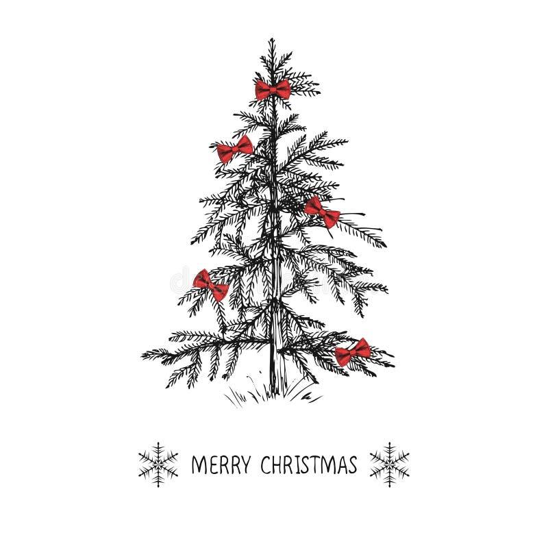 El diseño de tarjeta con un árbol de navidad dibujado mano con los copos de nieve y la Feliz Navidad mandan un SMS Abeto de la Na stock de ilustración