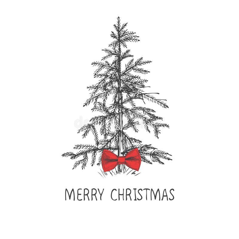 El diseño de tarjeta con un árbol de navidad dibujado mano con los copos de nieve y la Feliz Navidad mandan un SMS Abeto de la Na ilustración del vector