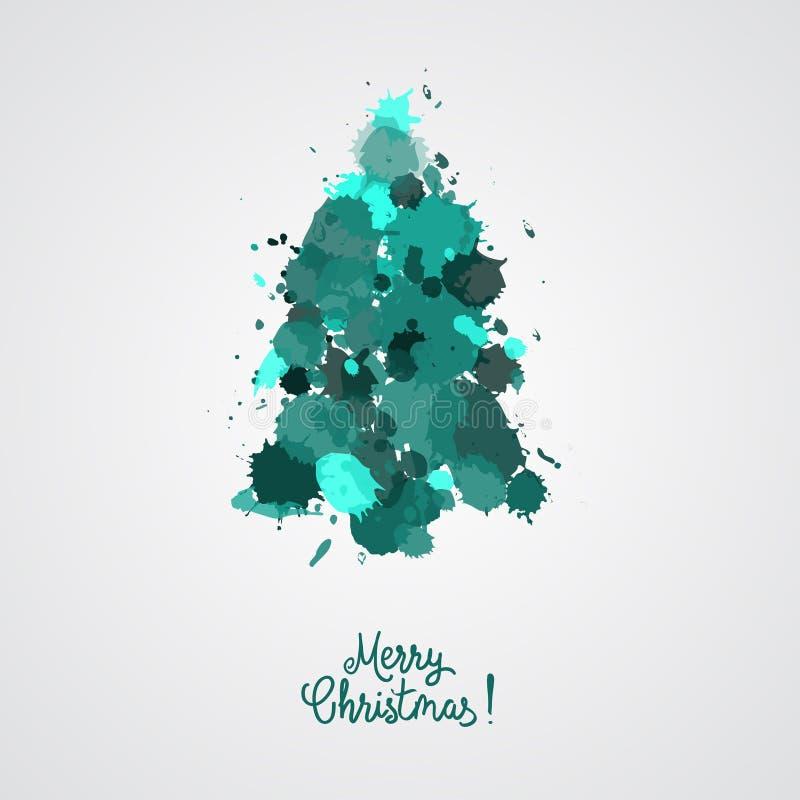 El diseño de tarjeta con un árbol de navidad dibujado mano con los copos de nieve y la Feliz Navidad mandan un SMS Immitation de  ilustración del vector
