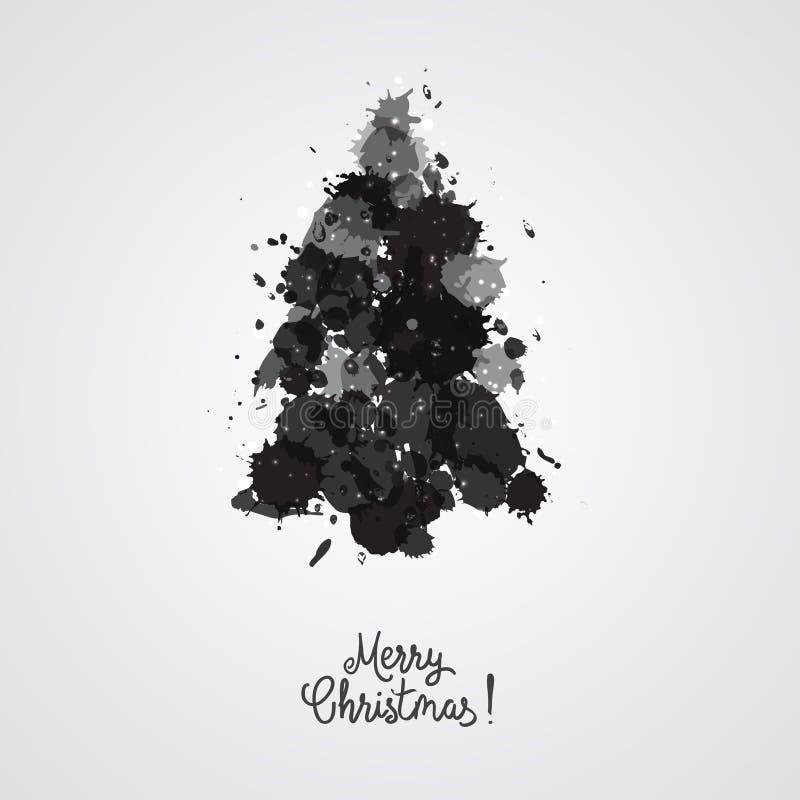 El diseño de tarjeta con un árbol de navidad dibujado mano con los copos de nieve y la Feliz Navidad mandan un SMS Immitation de  stock de ilustración