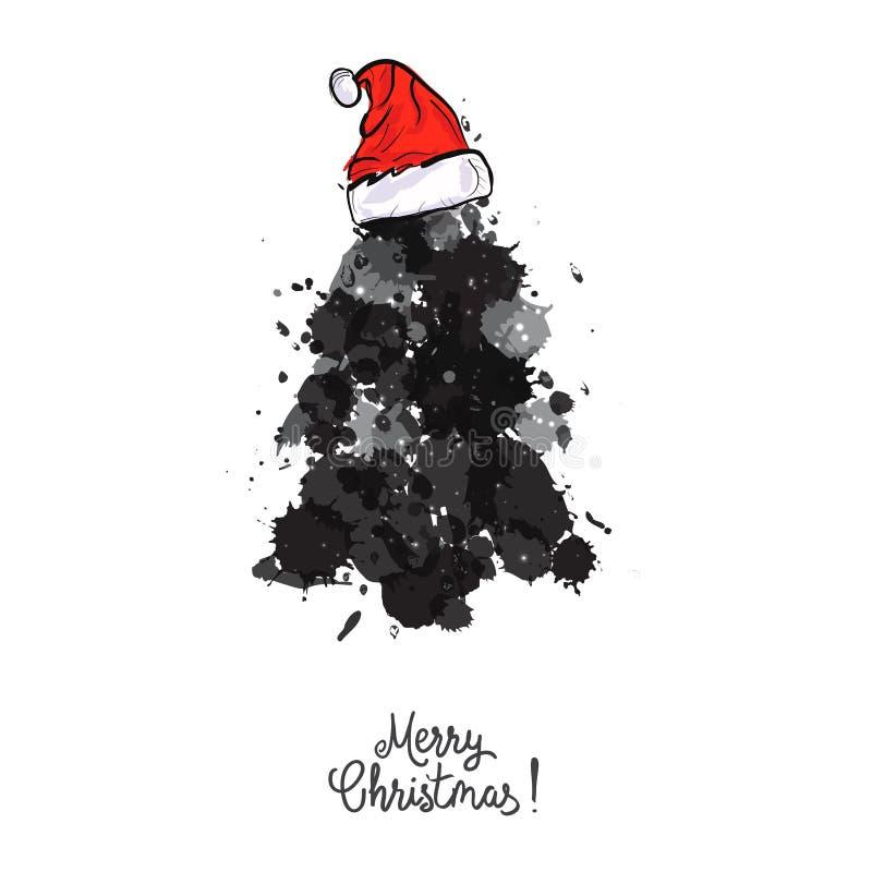 El diseño de tarjeta con un árbol de navidad dibujado mano con los copos de nieve y la Feliz Navidad mandan un SMS Immitation de  libre illustration