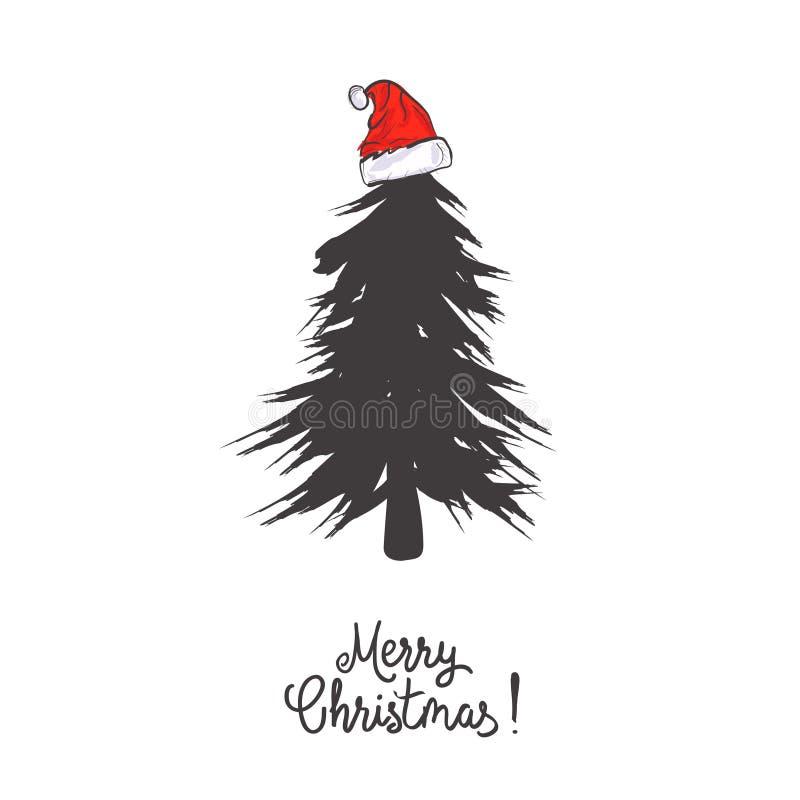 El diseño de tarjeta con un árbol de navidad dibujado mano con los copos de nieve y la Feliz Navidad mandan un SMS Sombrero del ` stock de ilustración