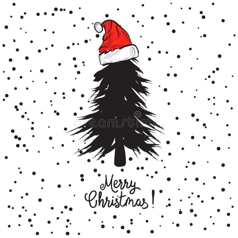 El diseño de tarjeta con un árbol de navidad dibujado mano con los copos de nieve y la Feliz Navidad mandan un SMS Sombrero del ` ilustración del vector